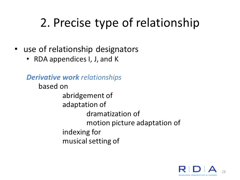 2. Precise type of relationship use of relationship designators RDA appendices I, J, and K Derivative work relationships based on abridgement of adapt