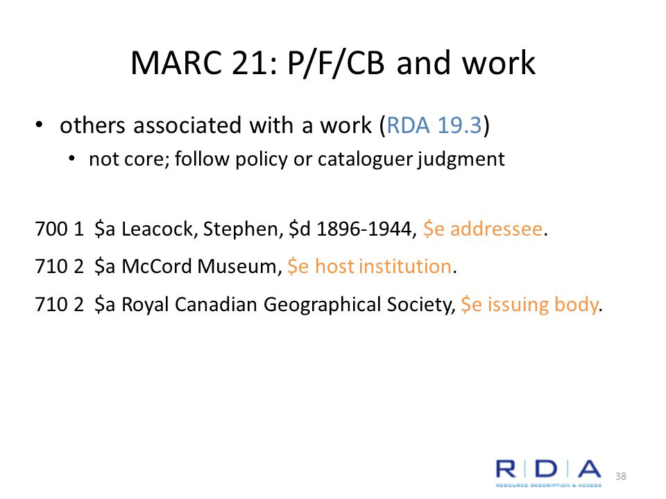 MARC 21: P/F/CB and work others associated with a work (RDA 19.3) not core; follow policy or cataloguer judgment $a Leacock, Stephen, $d , $e addressee.