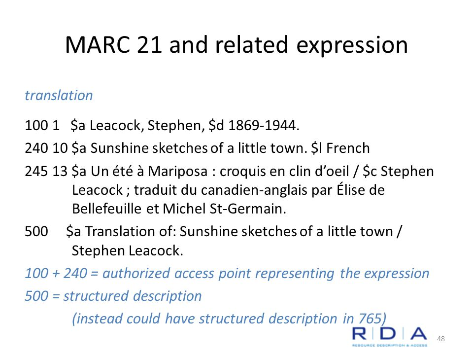 MARC 21 and related expression translation $a Leacock, Stephen, $d