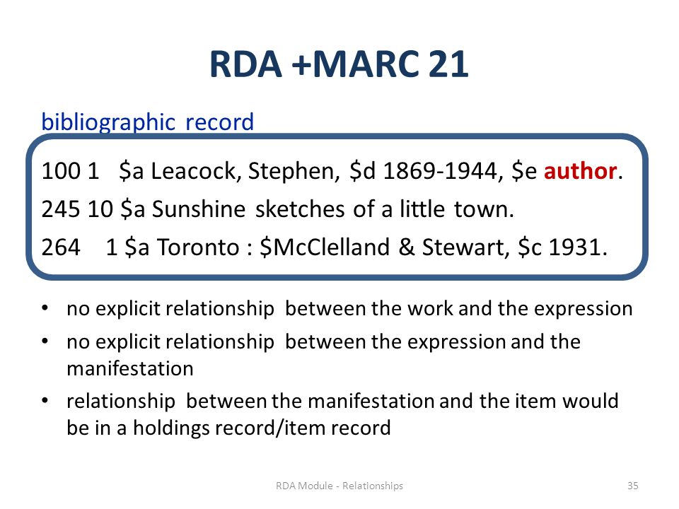 RDA +MARC 21 bibliographic record 100 1 $a Leacock, Stephen, $d 1869-1944, $e author.