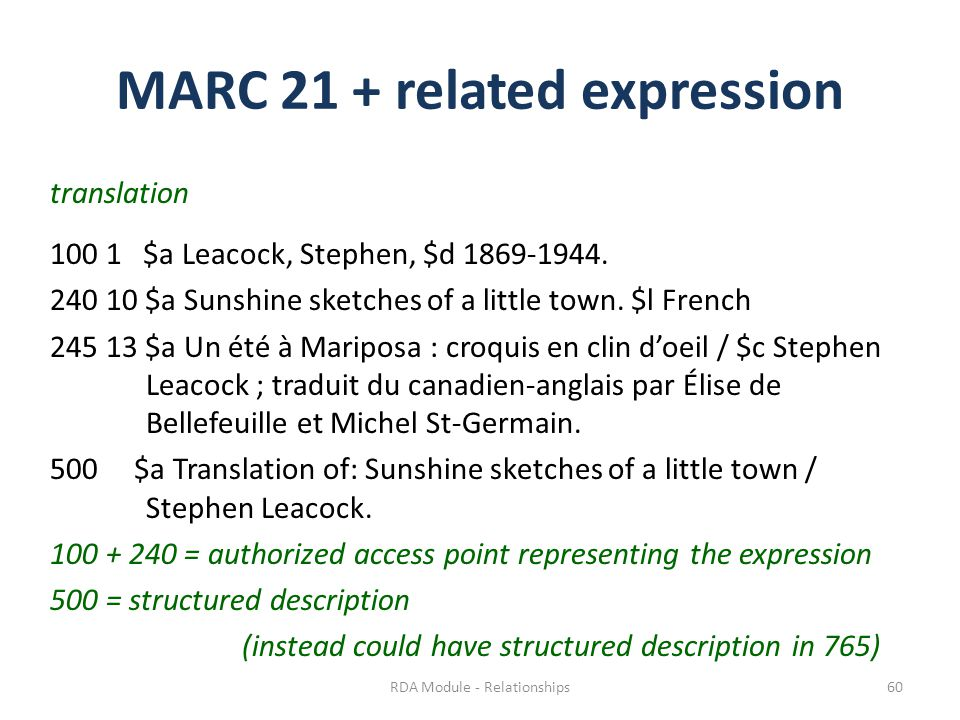 MARC 21 + related expression translation 100 1 $a Leacock, Stephen, $d 1869-1944.