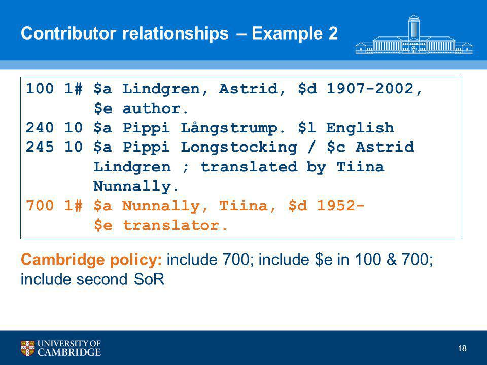 Contributor relationships – Example 2 Cambridge policy: include 700; include $e in 100 & 700; include second SoR 18 100 1# $a Lindgren, Astrid, $d 1907-2002, $e author.