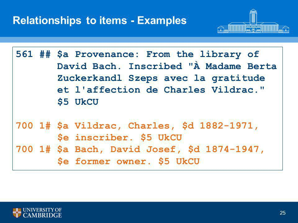 25 Relationships to items - Examples 561 ## $a Provenance: From the library of David Bach.