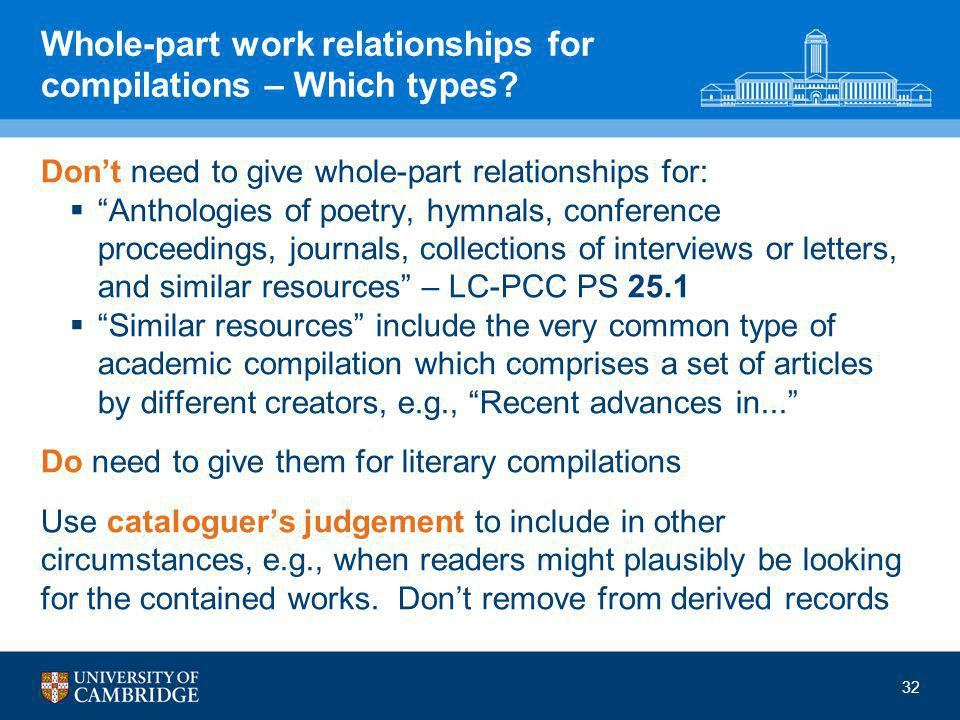 32 Whole-part work relationships for compilations – Which types.