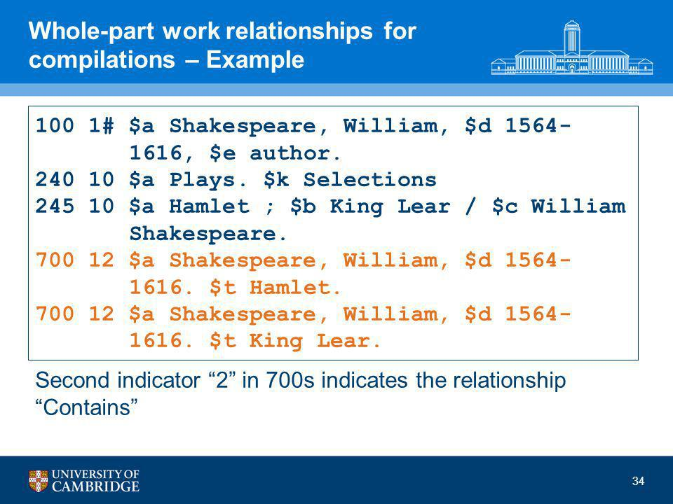 Whole-part work relationships for compilations – Example 100 1# $a Shakespeare, William, $d 1564- 1616, $e author.