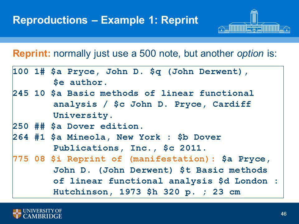 Reproductions – Example 1: Reprint 100 1# $a Pryce, John D. $q (John Derwent), $e author. 245 10 $a Basic methods of linear functional analysis / $c J