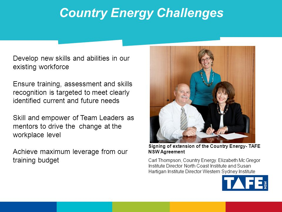 Country Energy Challenges Develop new skills and abilities in our existing workforce Ensure training, assessment and skills recognition is targeted to meet clearly identified current and future needs Skill and empower of Team Leaders as mentors to drive the change at the workplace level Achieve maximum leverage from our training budget Signing of extension of the Country Energy- TAFE NSW Agreement Carl Thompson, Country Energy.