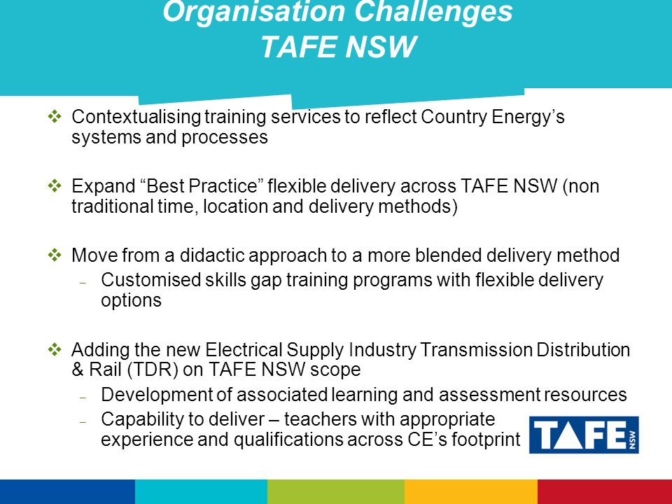 Organisation Challenges TAFE NSW  Contextualising training services to reflect Country Energy's systems and processes  Expand Best Practice flexible delivery across TAFE NSW (non traditional time, location and delivery methods)  Move from a didactic approach to a more blended delivery method – Customised skills gap training programs with flexible delivery options  Adding the new Electrical Supply Industry Transmission Distribution & Rail (TDR) on TAFE NSW scope – Development of associated learning and assessment resources – Capability to deliver – teachers with appropriate experience and qualifications across CE's footprint
