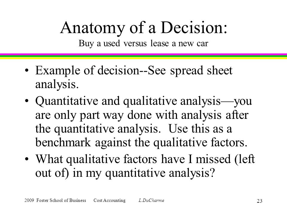 2009 Foster School of Business Cost Accounting L.DuCharme 23 Anatomy of a Decision: Buy a used versus lease a new car Example of decision--See spread sheet analysis.