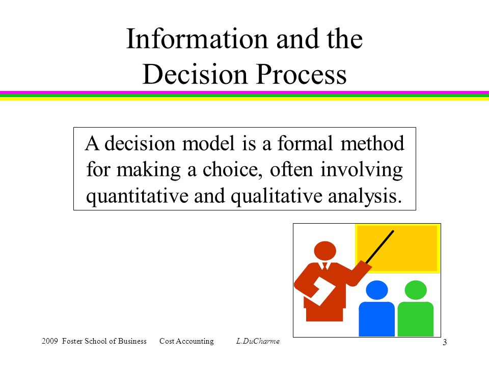 2009 Foster School of Business Cost Accounting L.DuCharme 3 Information and the Decision Process A decision model is a formal method for making a choice, often involving quantitative and qualitative analysis.