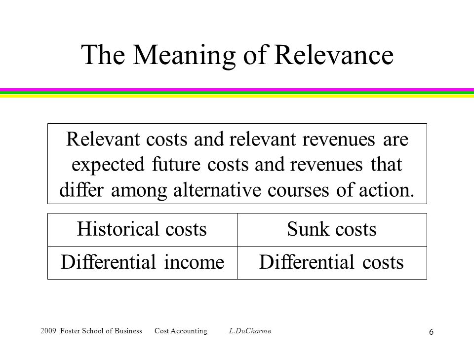 2009 Foster School of Business Cost Accounting L.DuCharme 6 The Meaning of Relevance Relevant costs and relevant revenues are expected future costs and revenues that differ among alternative courses of action.