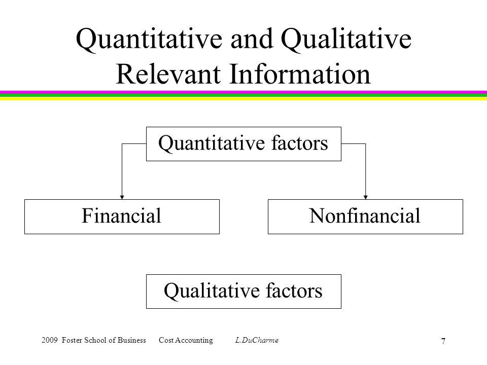 2009 Foster School of Business Cost Accounting L.DuCharme 7 Quantitative and Qualitative Relevant Information Quantitative factors FinancialNonfinancial Qualitative factors