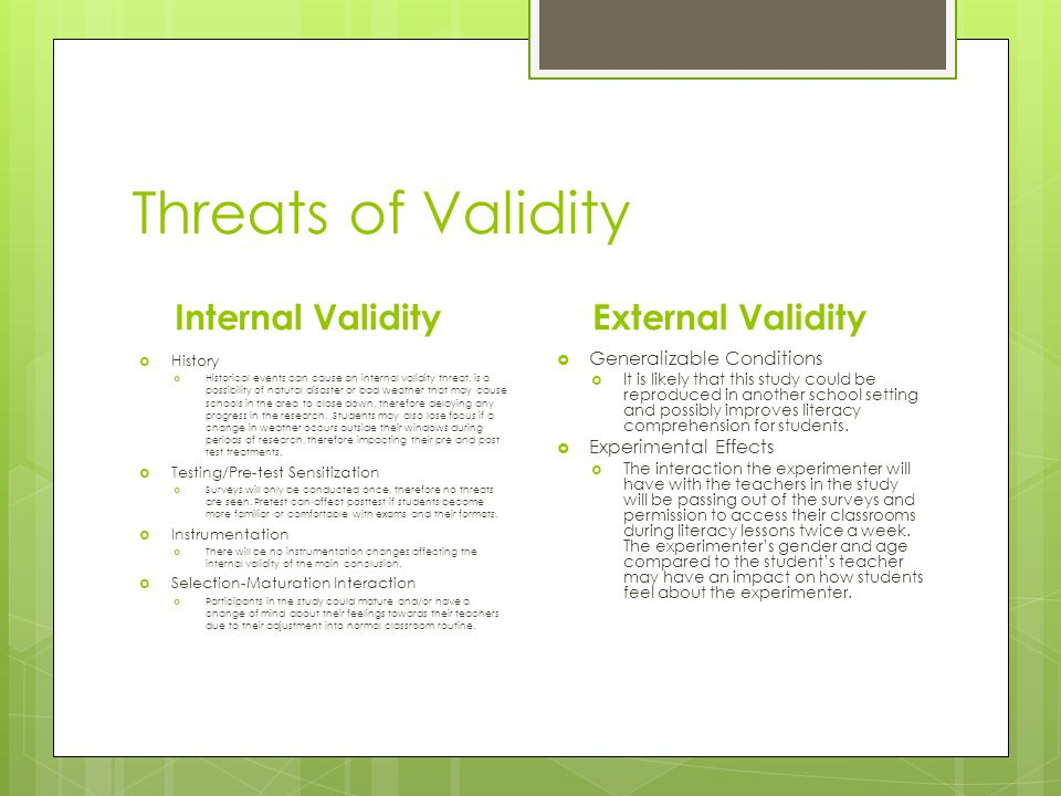 Threats of Validity Internal ValidityExternal Validity  Generalizable Conditions  It is likely that this study could be reproduced in another school setting and possibly improves literacy comprehension for students.