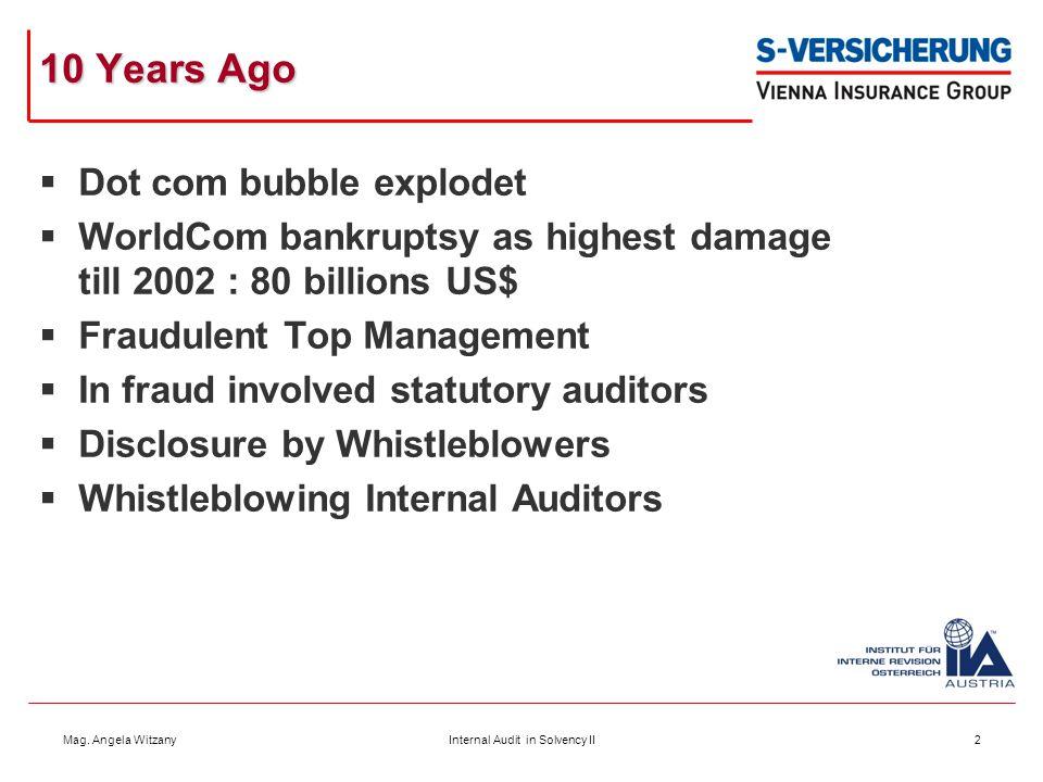 Mag. Angela WitzanyInternal Audit in Solvency II2 10 Years Ago  Dot com bubble explodet  WorldCom bankruptsy as highest damage till 2002 : 80 billio