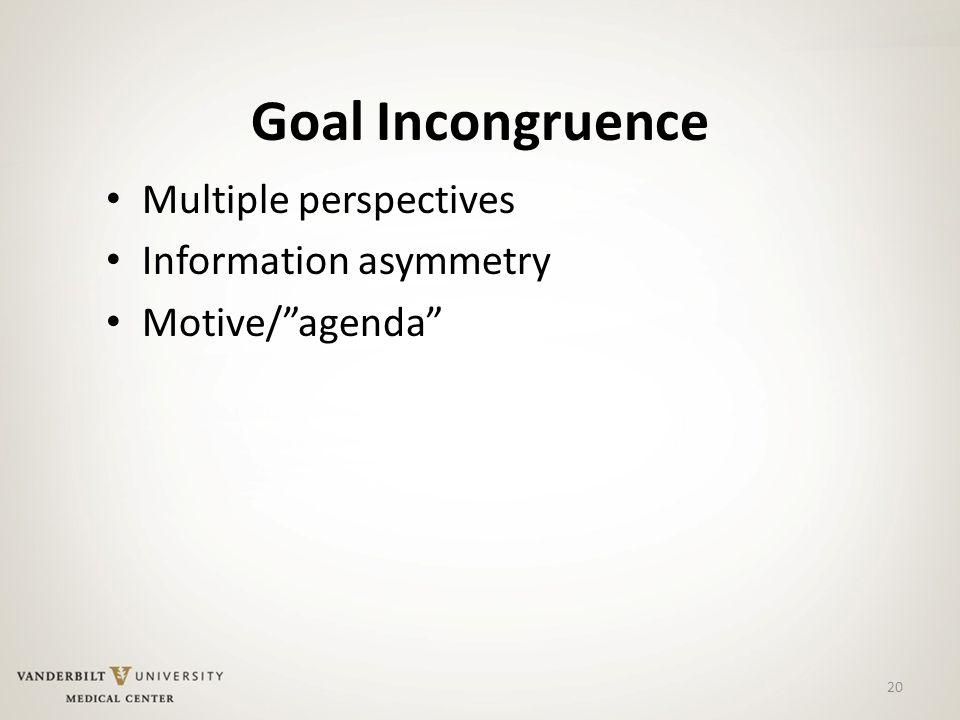 Goal Incongruence Multiple perspectives Information asymmetry Motive/ agenda 20