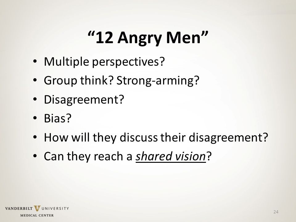 12 Angry Men Multiple perspectives. Group think.