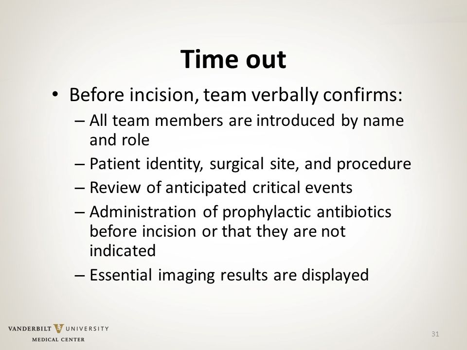 31 Time out Before incision, team verbally confirms: – All team members are introduced by name and role – Patient identity, surgical site, and procedure – Review of anticipated critical events – Administration of prophylactic antibiotics before incision or that they are not indicated – Essential imaging results are displayed
