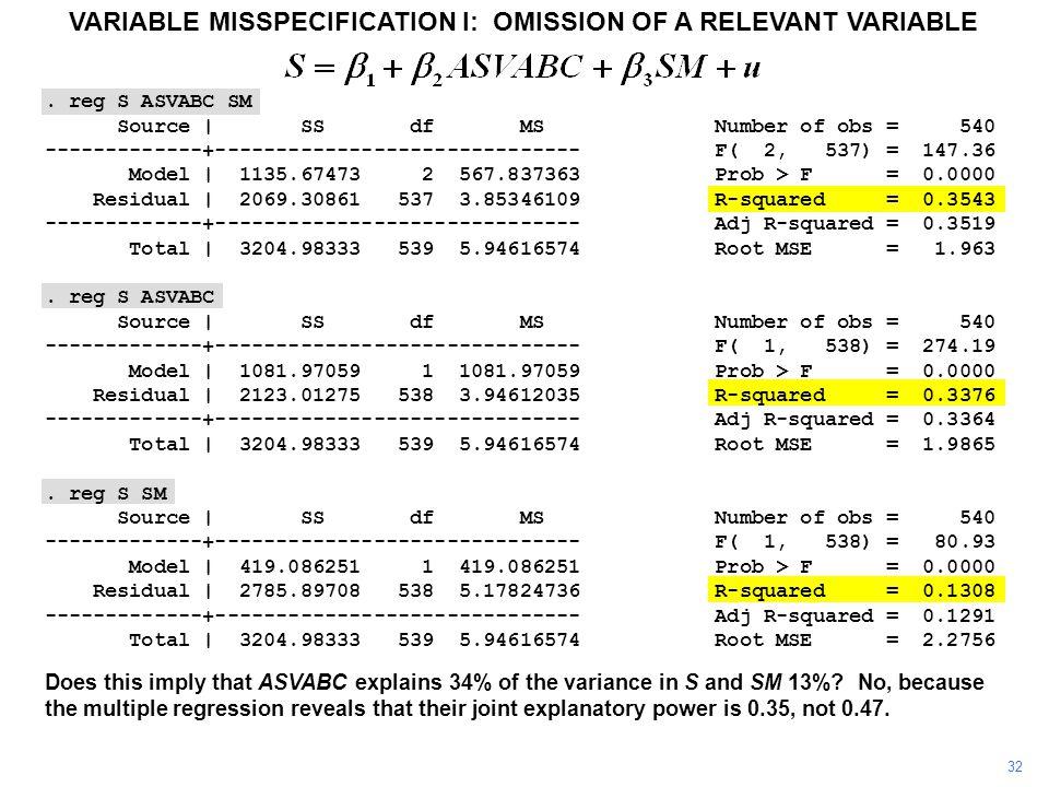 . reg S ASVABC SM Source | SS df MS Number of obs = 540 -------------+------------------------------ F( 2, 537) = 147.36 Model | 1135.67473 2 567.8373