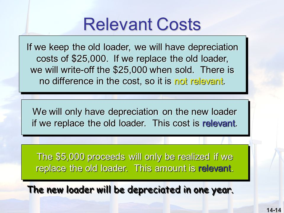 14-14 Relevant Costs If we keep the old loader, we will have depreciation costs of $25,000. If we replace the old loader, we will write-off the $25,00