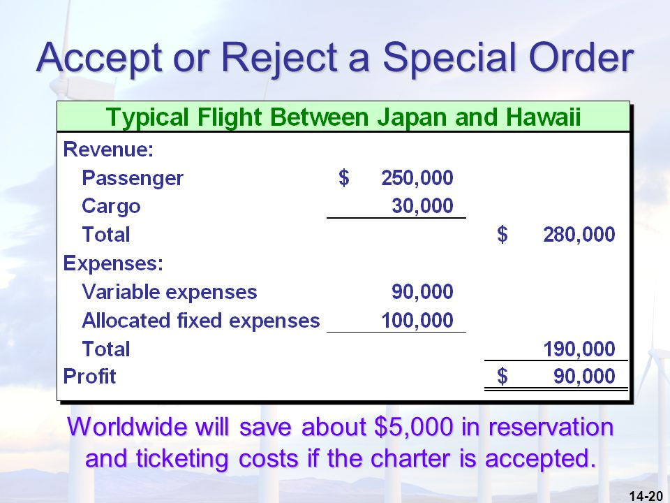 14-20 Accept or Reject a Special Order Worldwide will save about $5,000 in reservation and ticketing costs if the charter is accepted.