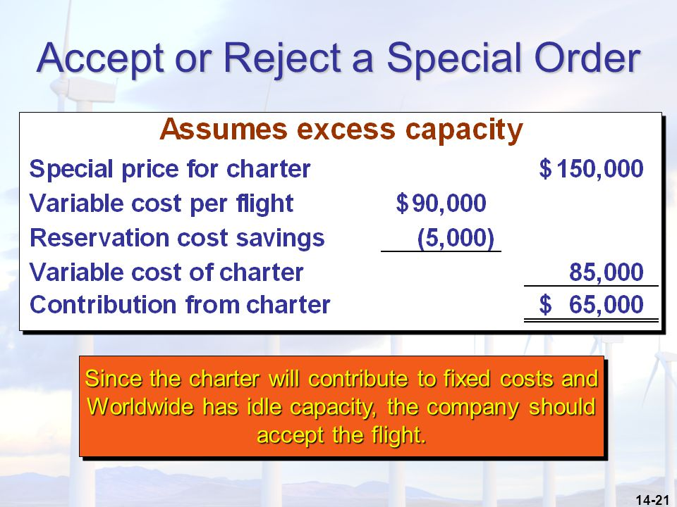 14-21 Accept or Reject a Special Order Since the charter will contribute to fixed costs and Worldwide has idle capacity, the company should accept the flight.