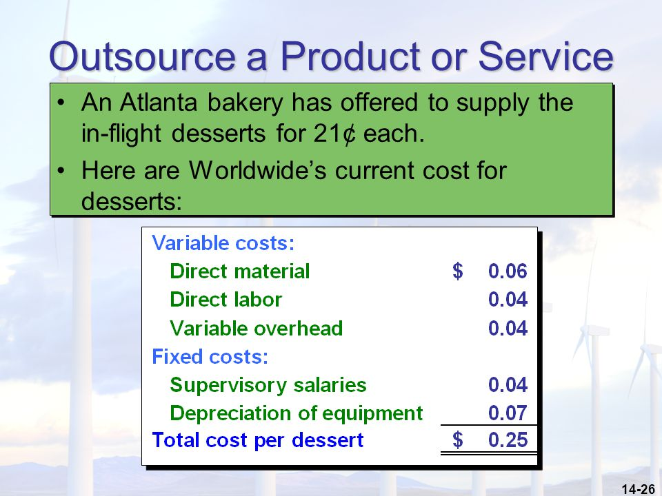 14-26 Outsource a Product or Service An Atlanta bakery has offered to supply the in-flight desserts for 21¢ each. Here are Worldwide's current cost fo
