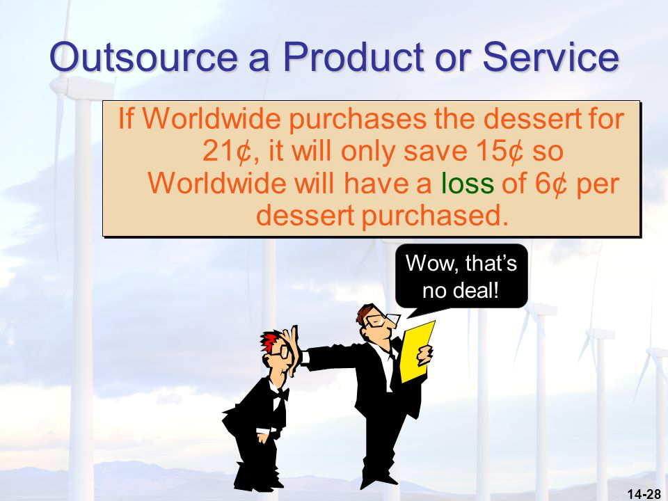 14-28 Outsource a Product or Service If Worldwide purchases the dessert for 21¢, it will only save 15¢ so Worldwide will have a loss of 6¢ per dessert