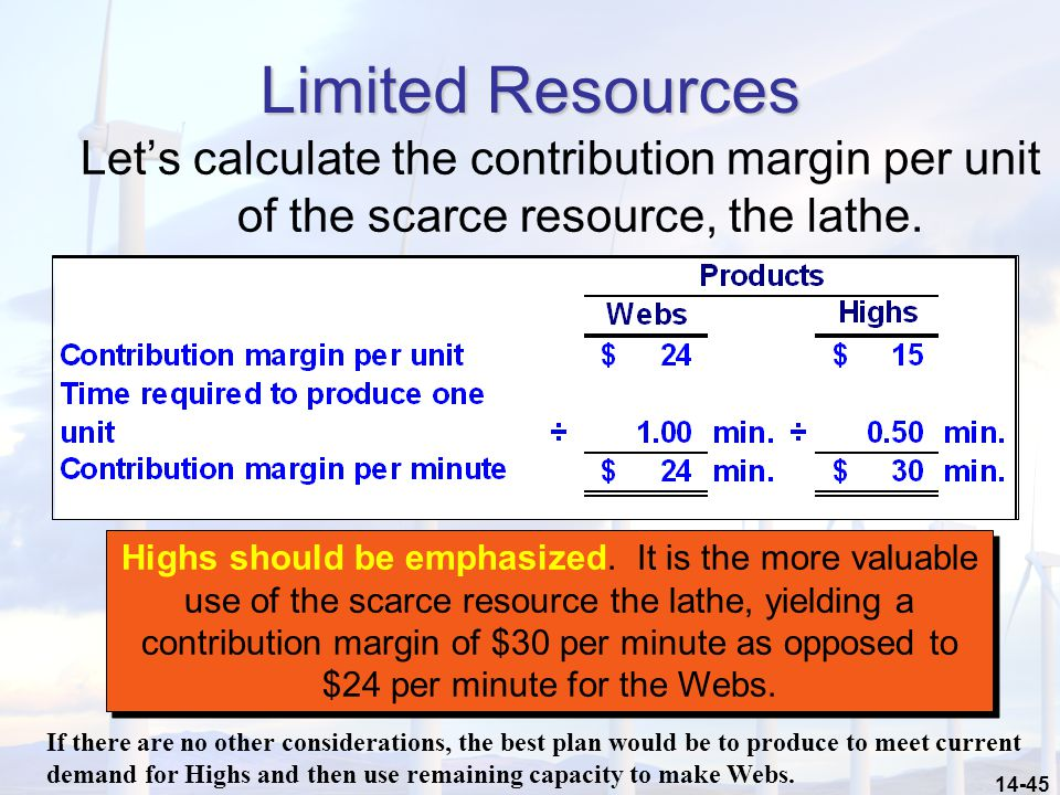 14-45 Limited Resources Let's calculate the contribution margin per unit of the scarce resource, the lathe.