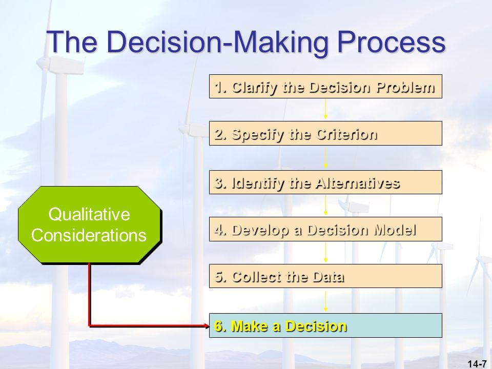 14-7 The Decision-Making Process 1.Clarify the Decision Problem 2.