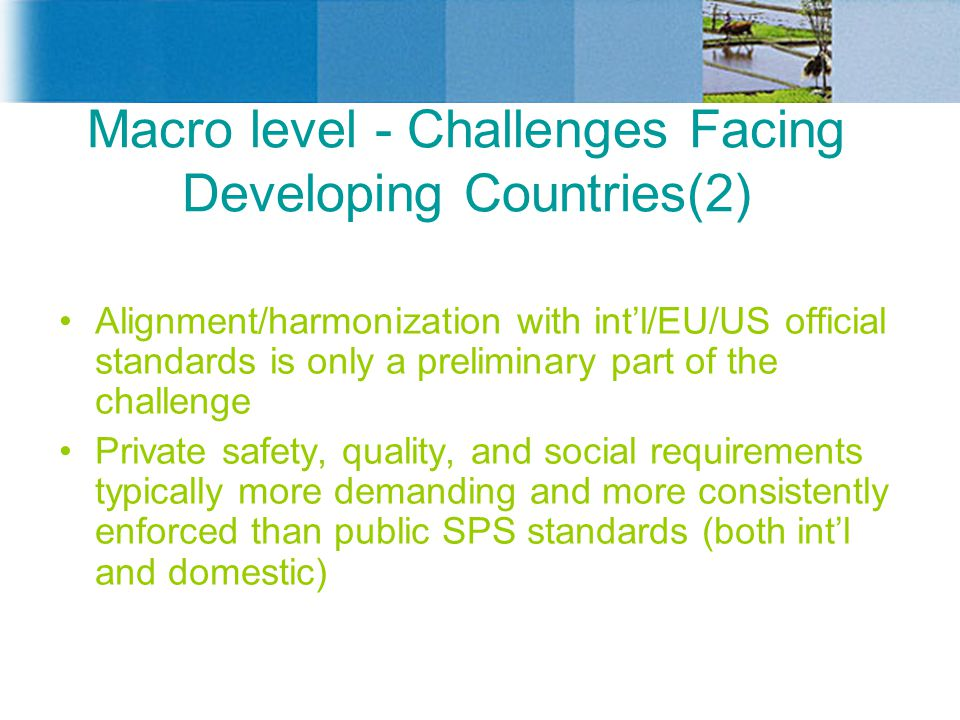 Macro level - Challenges Facing Developing Countries(2) Alignment/harmonization with int'l/EU/US official standards is only a preliminary part of the