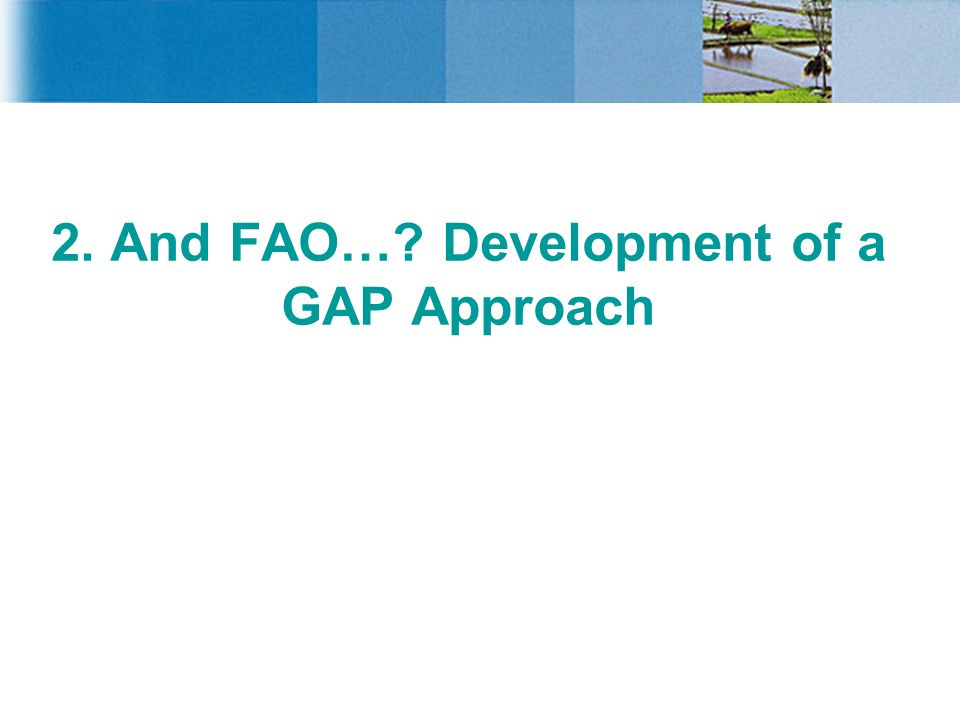 2. And FAO…? Development of a GAP Approach