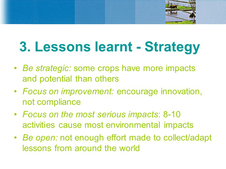 3. Lessons learnt - Strategy Be strategic: some crops have more impacts and potential than others Focus on improvement: encourage innovation, not comp