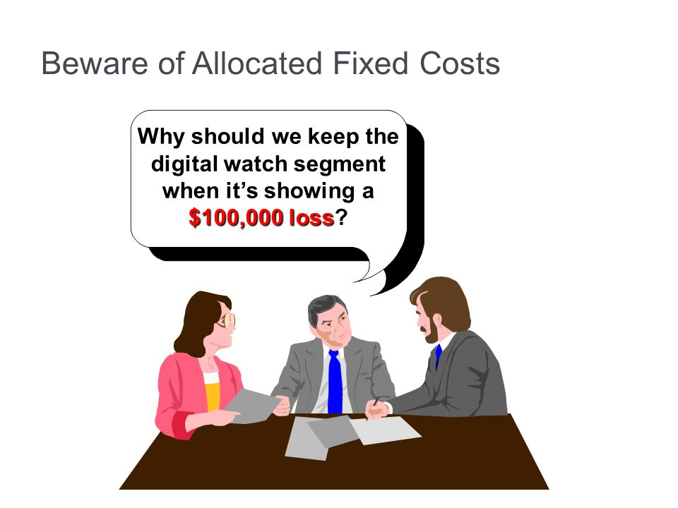 Beware of Allocated Fixed Costs Why should we keep the digital watch segment when it's showing a $100,000 loss?