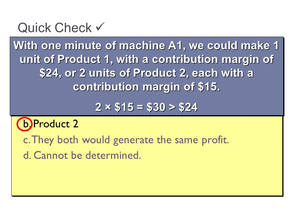 Quick Check What generates more profit for the company, using one minute of machine A1 to process Product 1 or using one minute of machine A1 to process Product 2.