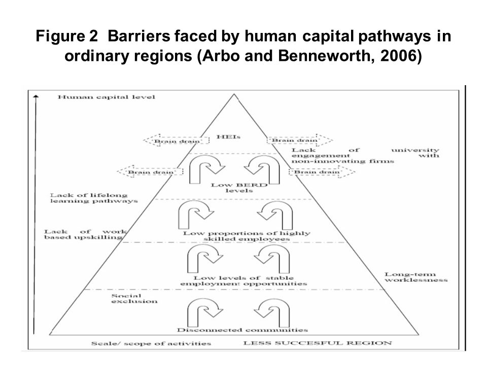 Figure 2 Barriers faced by human capital pathways in ordinary regions (Arbo and Benneworth, 2006)