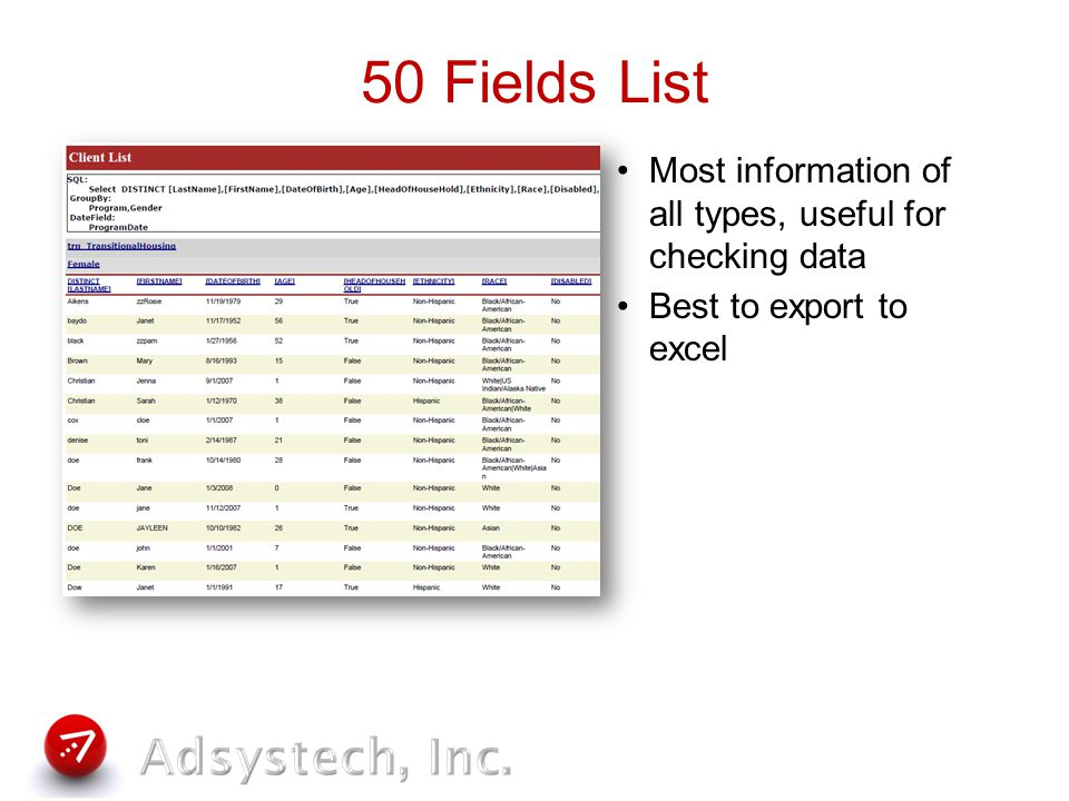 Fields List Useful for items that do not need sums or counts Use for items too big to fit into columns – like Comments