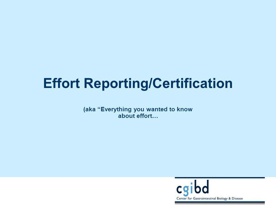 """Effort Reporting/Certification (aka """"Everything you wanted to know about effort…"""