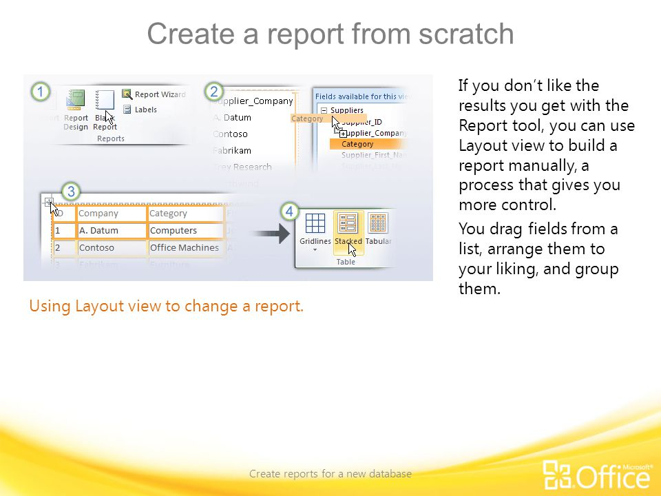 Create a report from scratch Create reports for a new database Using Layout view to change a report. If you don't like the results you get with the Re