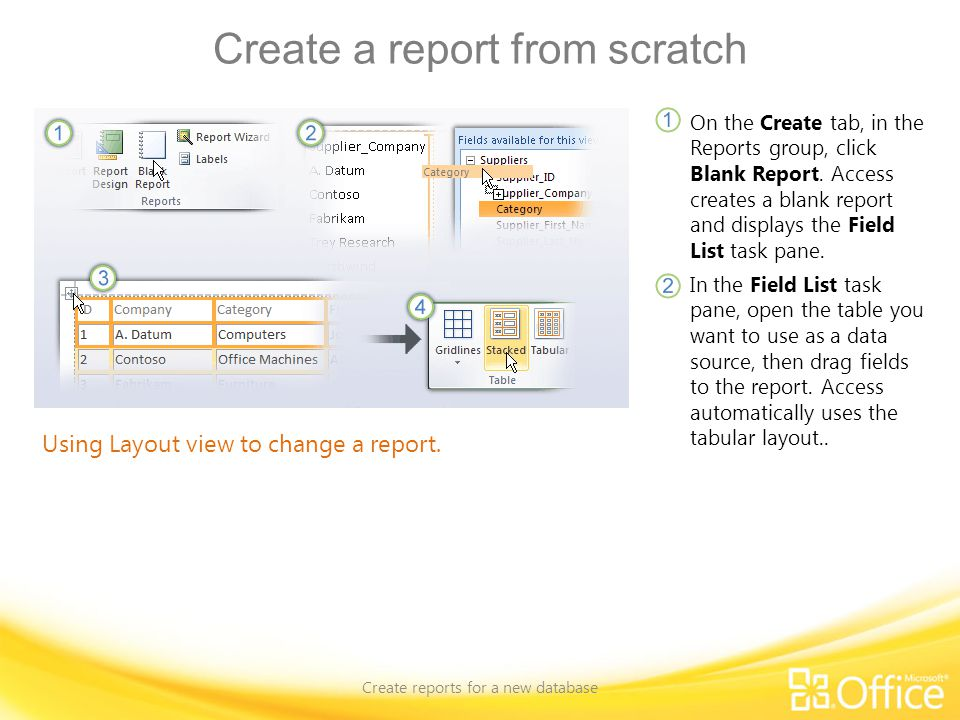 Create a report from scratch Create reports for a new database Using Layout view to change a report. On the Create tab, in the Reports group, click Bl