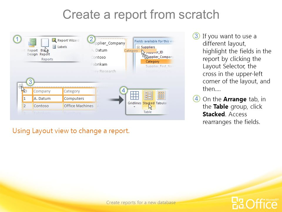 Create a report from scratch Create reports for a new database Using Layout view to change a report. If you want to use a different layout, highlight
