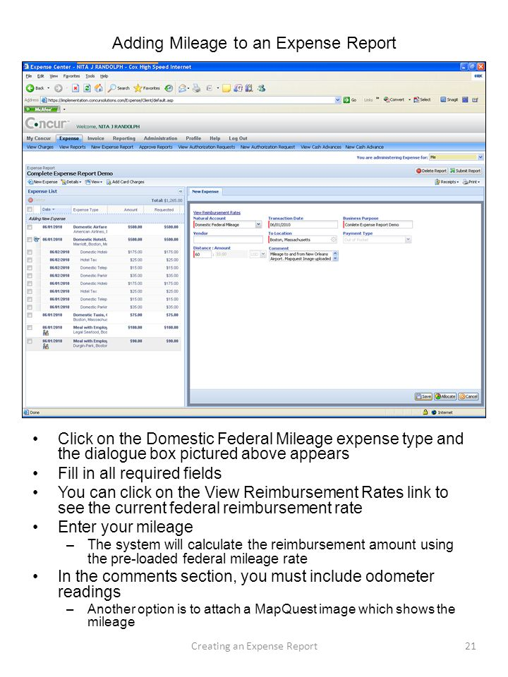 Adding Mileage to an Expense Report Click on the Domestic Federal Mileage expense type and the dialogue box pictured above appears Fill in all require