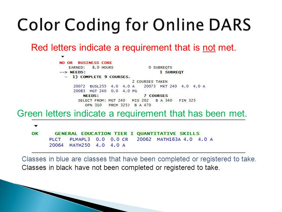 Red letters indicate a requirement that is not met. Green letters indicate a requirement that has been met. Classes in blue are classes that have been