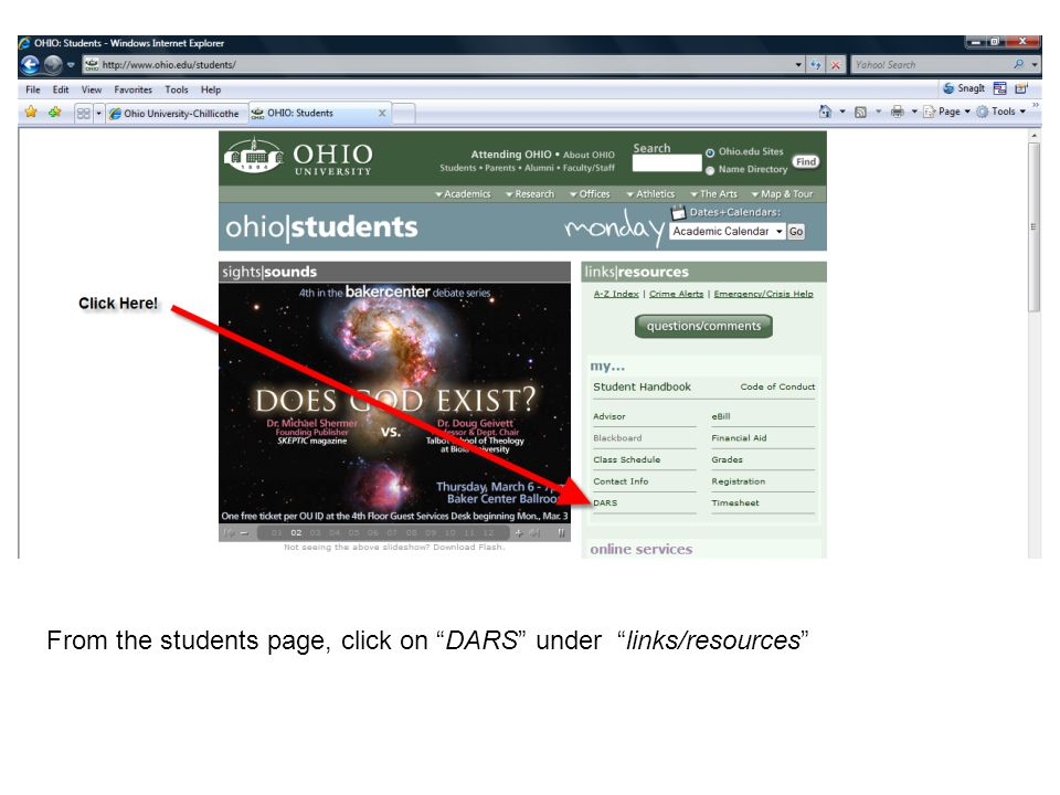 "From the students page, click on ""DARS"" under ""links/resources"""