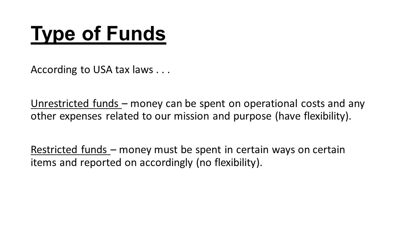 Type of Funds According to USA tax laws...