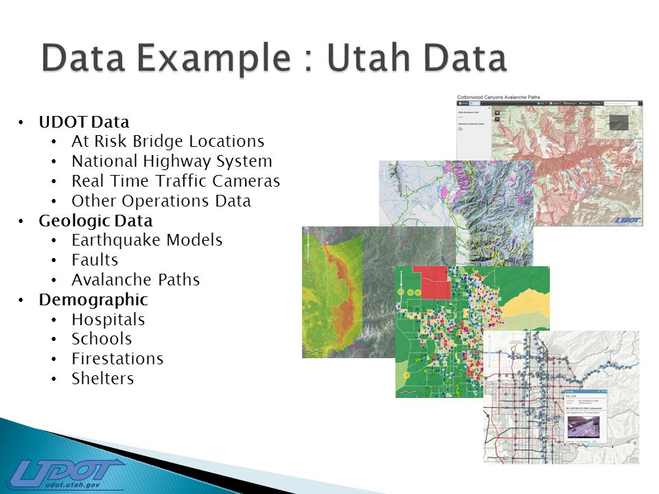 UDOT Data At Risk Bridge Locations National Highway System Real Time Traffic Cameras Other Operations Data Geologic Data Earthquake Models Faults Avalanche Paths Demographic Hospitals Schools Firestations Shelters