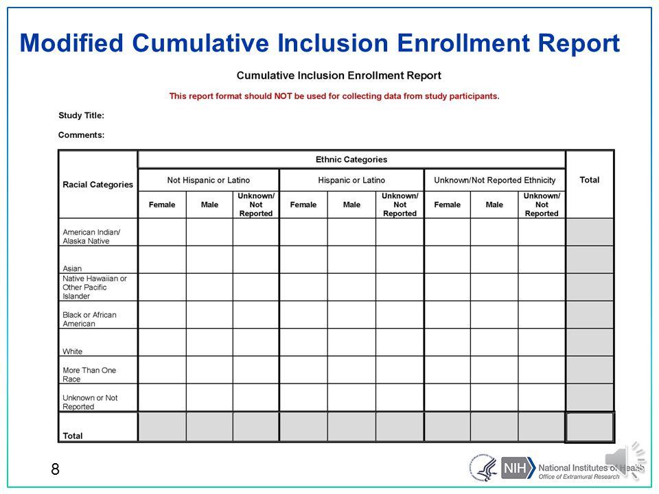Modified Cumulative Inclusion Enrollment Report 8