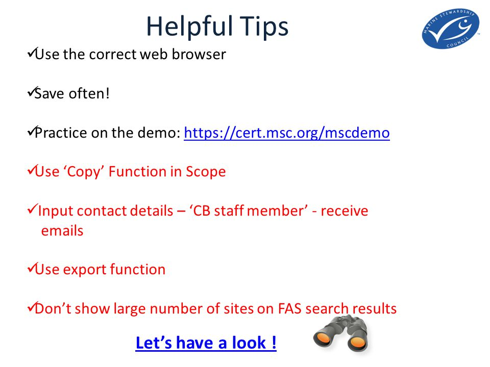 Helpful Tips Let's have a look . Use the correct web browser Save often.