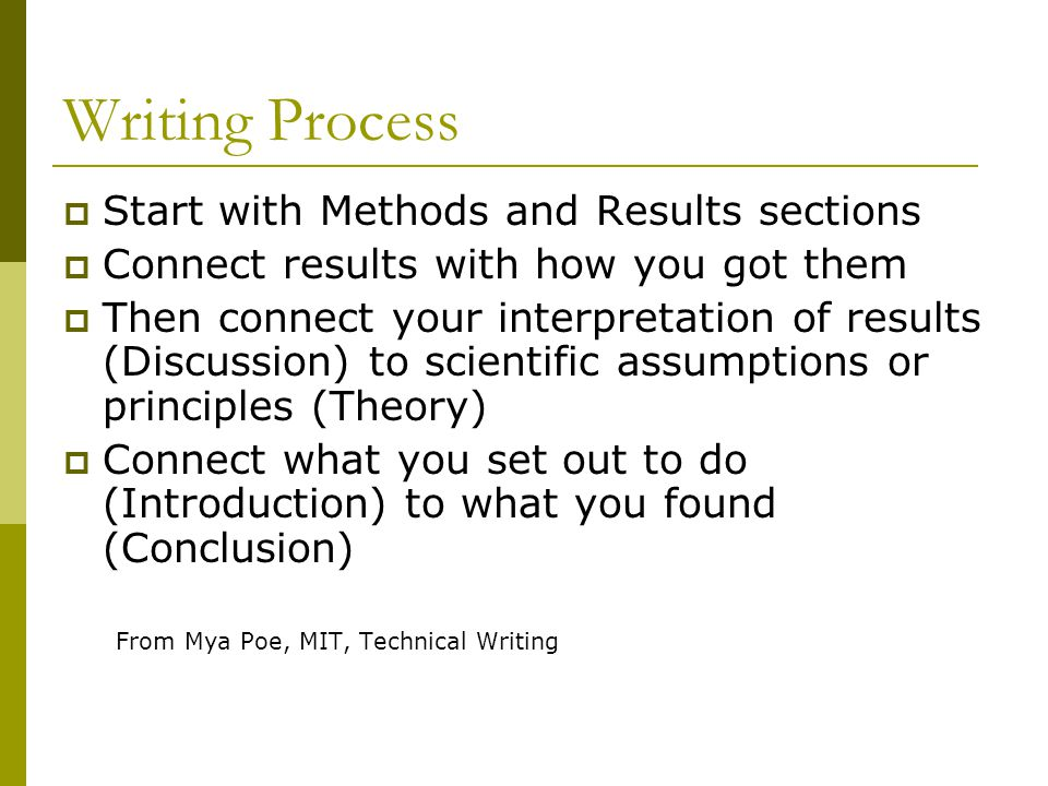 Writing Process  Start with Methods and Results sections  Connect results with how you got them  Then connect your interpretation of results (Discu