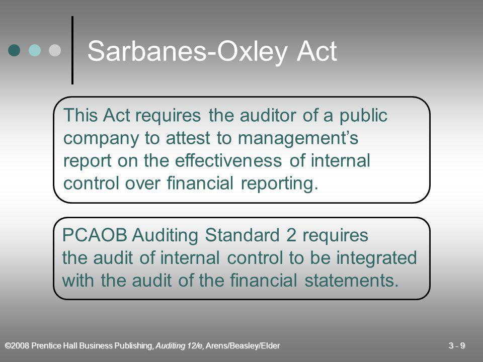 ©2008 Prentice Hall Business Publishing, Auditing 12/e, Arens/Beasley/Elder 3 - 10 Sarbanes-Oxley Act Combined Report on Financial Statements and Internal Control Over Financial Reporting 1.