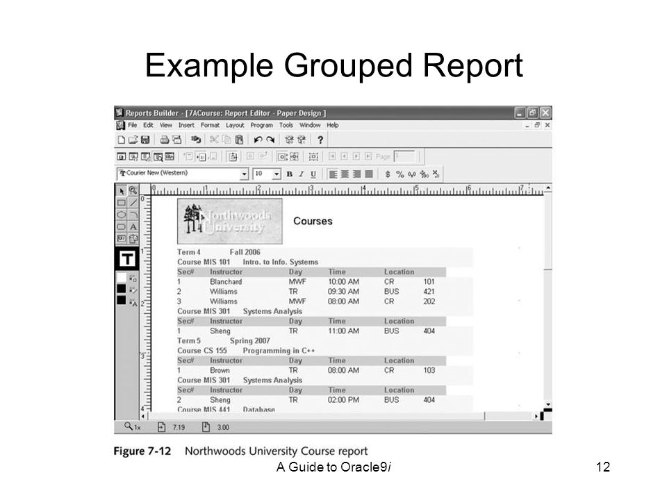 A Guide to Oracle9i12 Example Grouped Report